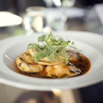 Goat's cheese, tomato and basil ravioli with tomato consommé (2)