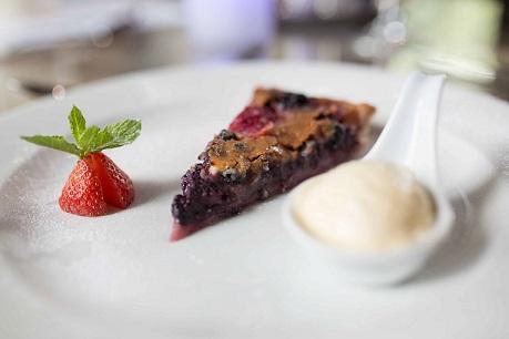 Blackberry and plum clafoutis, seasonal ice cream