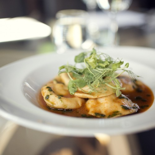 3 - Goat's cheese, tomato and basil ravioli with tomato consommé