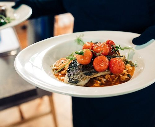 Pan roast fillet sea bream tomato and seafood linguine