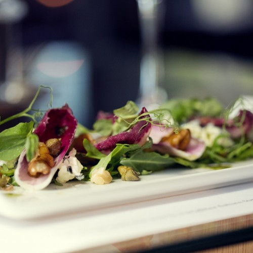 2 - Stilton and chicory salad with capers, walnut and rocket