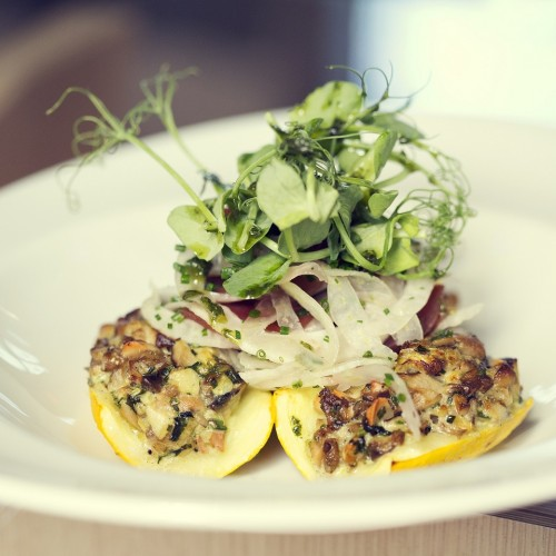 8 - Stuffed courgette with warm fennel and beetroot salad